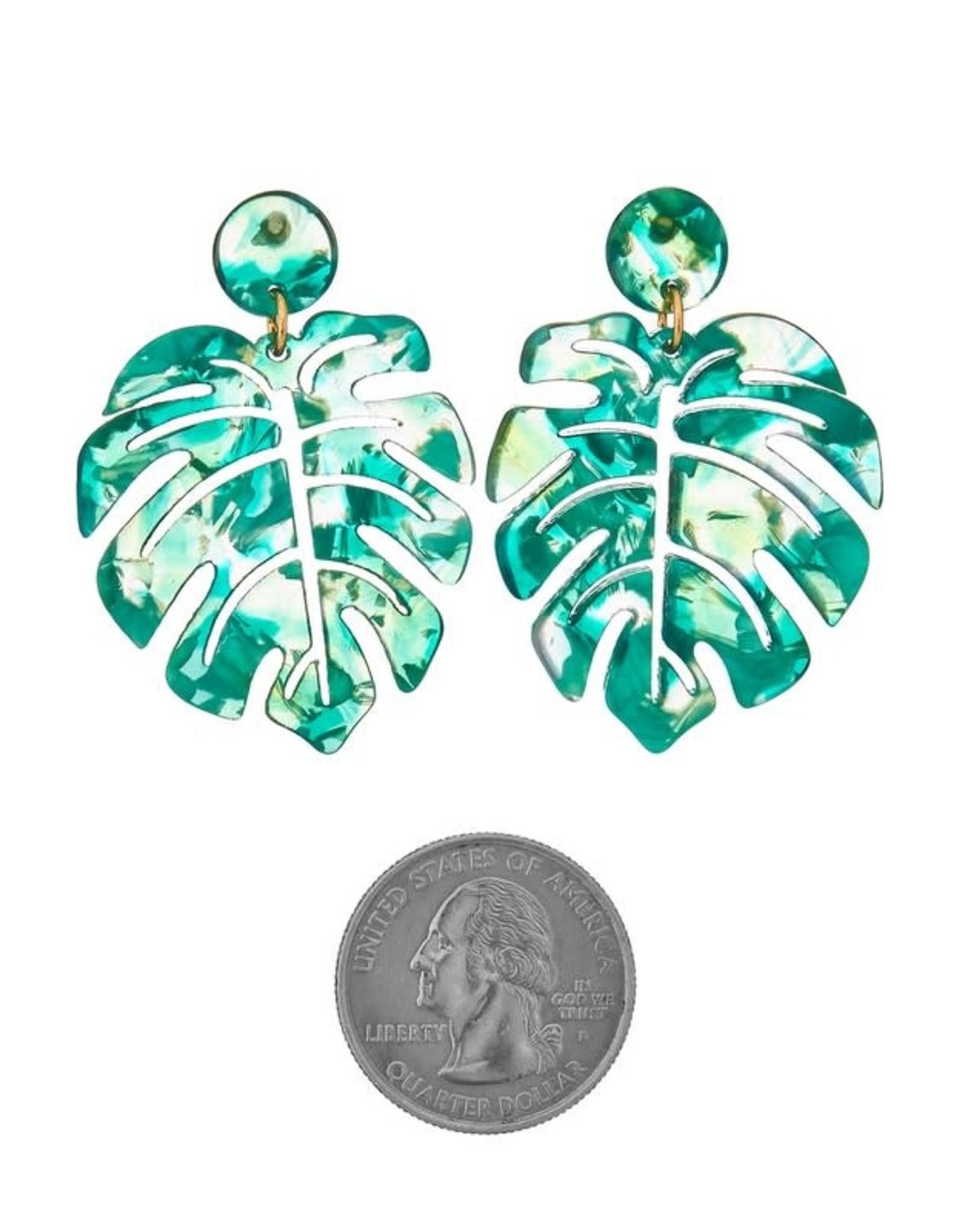 GREEN ACETATE MONSTERA LEAF EARRING