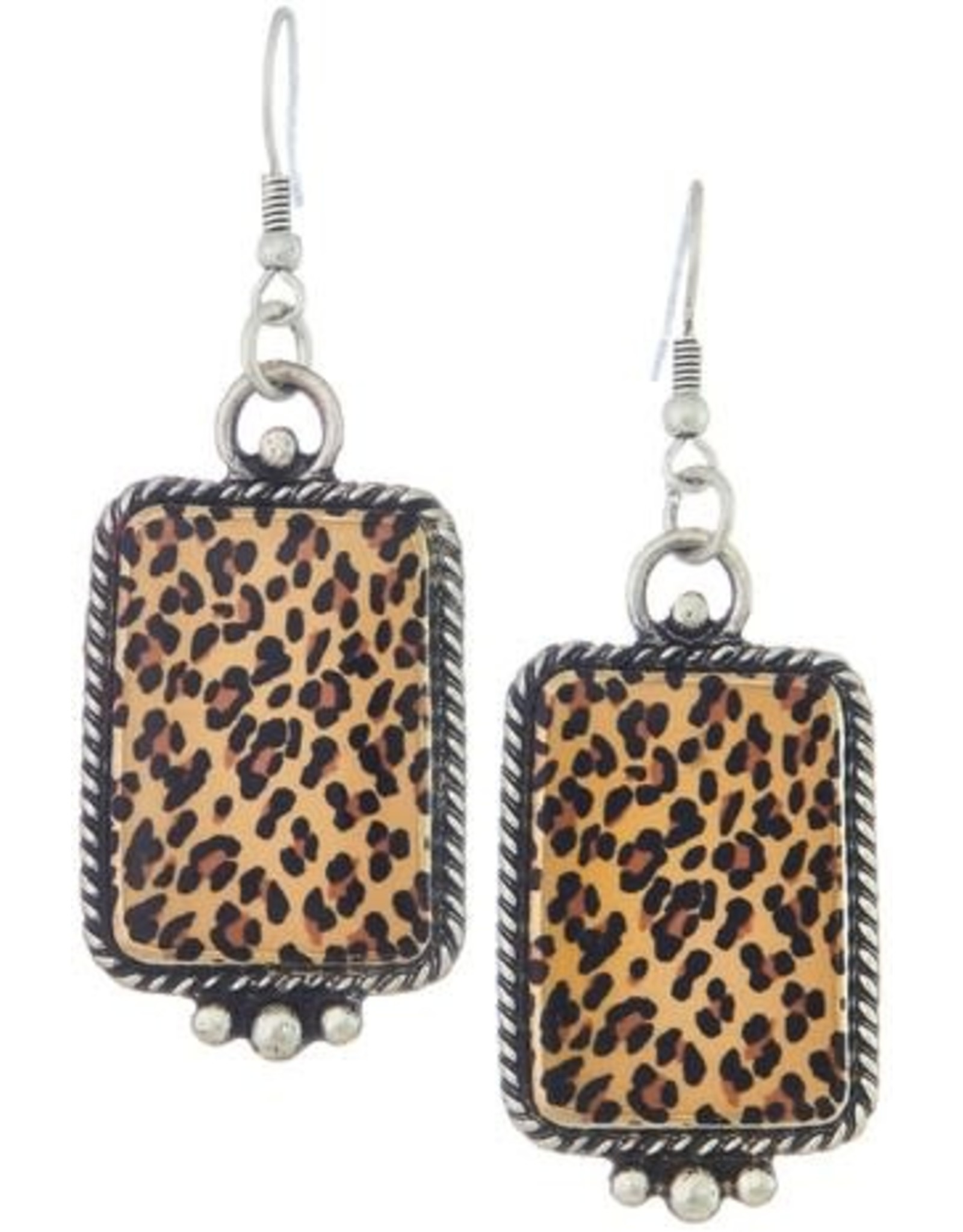 METAL DROP EARRINGS WITH LEOPARD PRINT