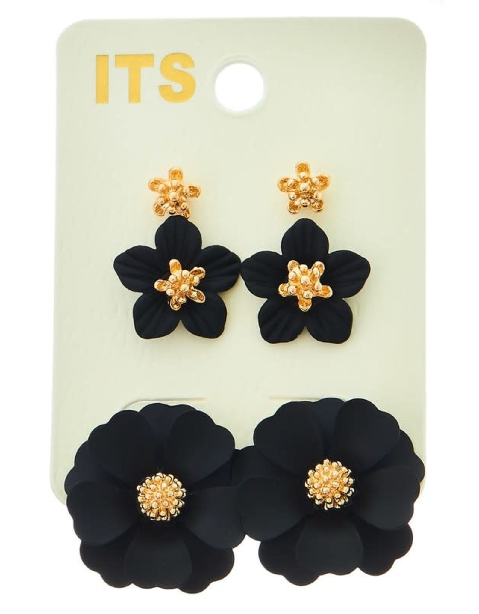 BLACK FLOWER POST EARRING SET OF 3