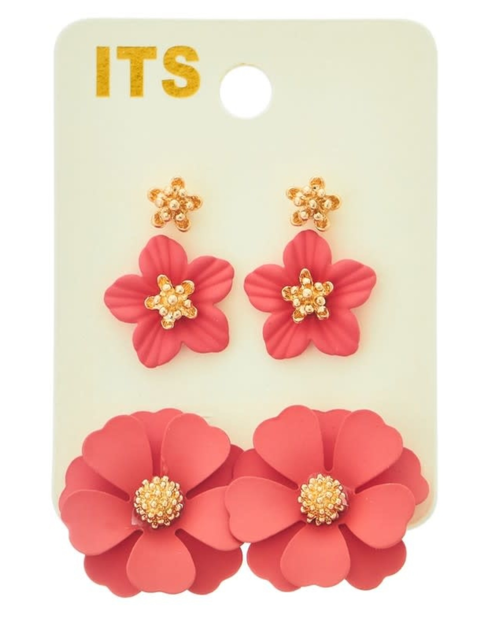 CORAL FLOWER POST EARRING SET OF 3