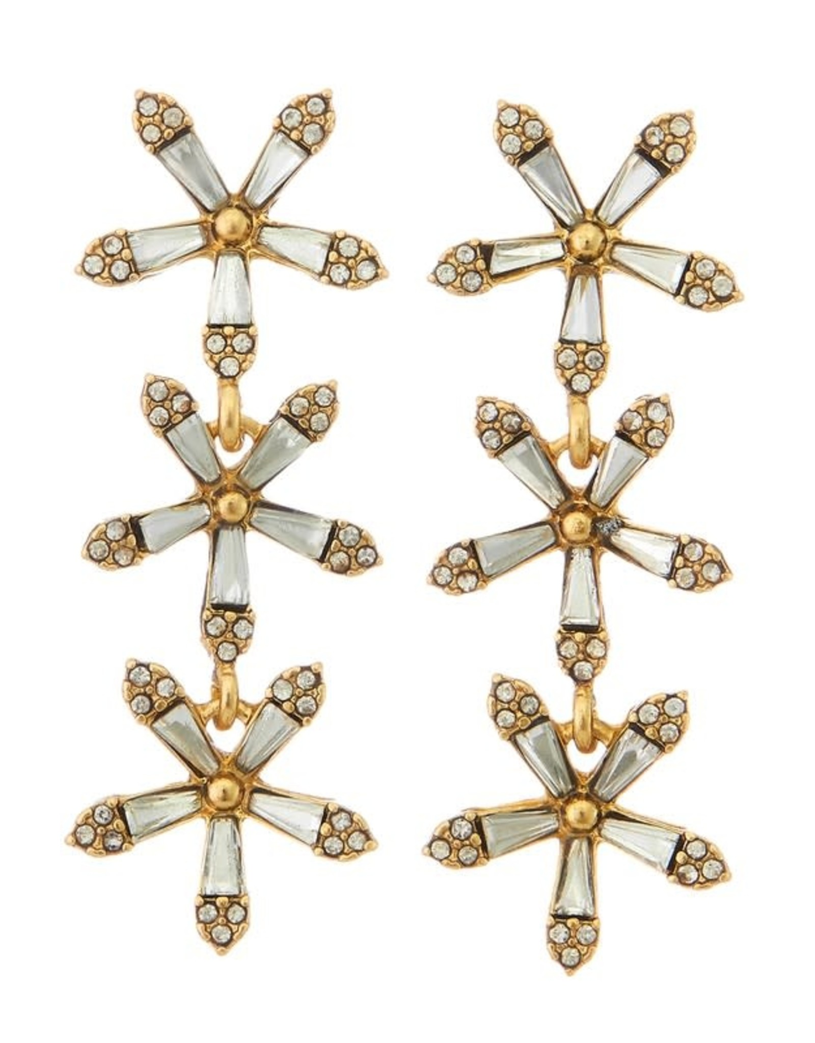 GOLD 3 TIERED STAR DROP EARRING