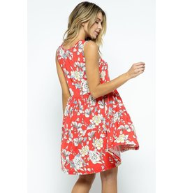 RED FLORAL PRINT TIERED DRESS