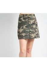 CAMO A-LINE STONEWASHED BUTTON UP SKIRT