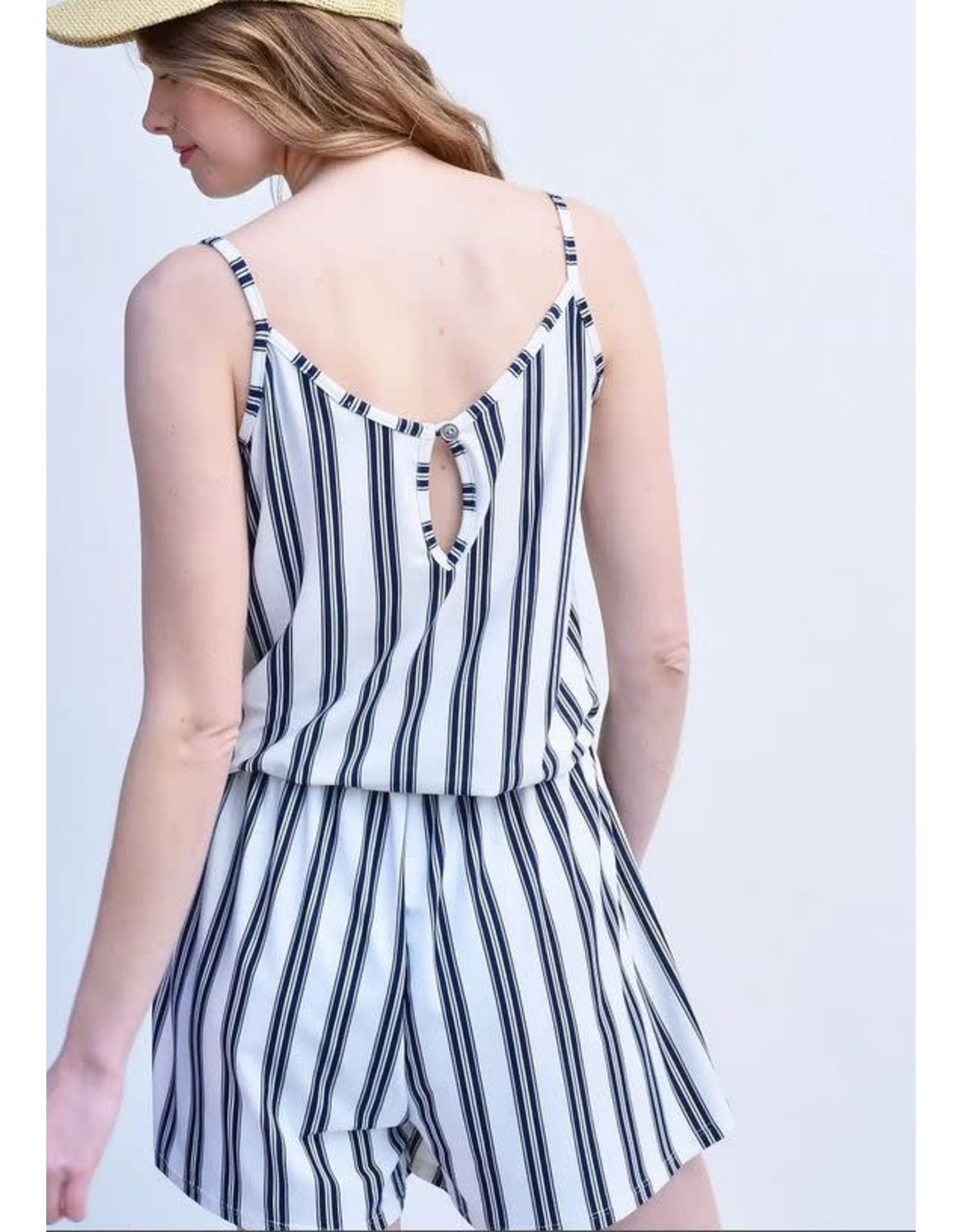 IVORY SLEEVELESS STRIPED ROMPER