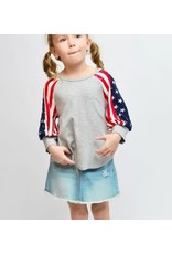 GREY AMERICAN FLAG SLEEVE TOP