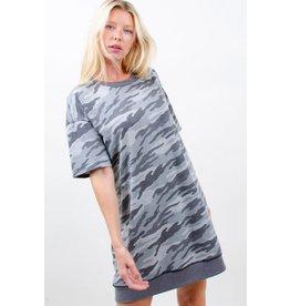 GREY CAMO PRINT TSHIRT DRESS