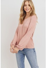 PAPER CRANE CORAL JERSEY TIE BACK LONG SLEEVE TOP