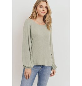 PAPER CRANE SAGE JERSEY TIE BACK LONG SLEEVE TOP