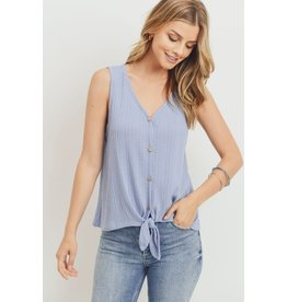 PAPER CRANE PERI BLUE BUTTON DOWN WAFFLE TIE FRONT TANK