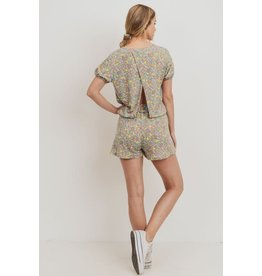 PAPER CRANE SAGE FLORAL OPEN BACK SHORT SLEEVE TERRY TOP