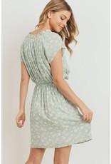 PAPER CRANE SAGE FLORAL PRINT TIE WAIST SHORT SLEEVE DRESS