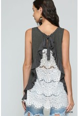 GIGIO CHARCOAL RUFFLE DETAIL LACE BACK SLEEVELESS TOP