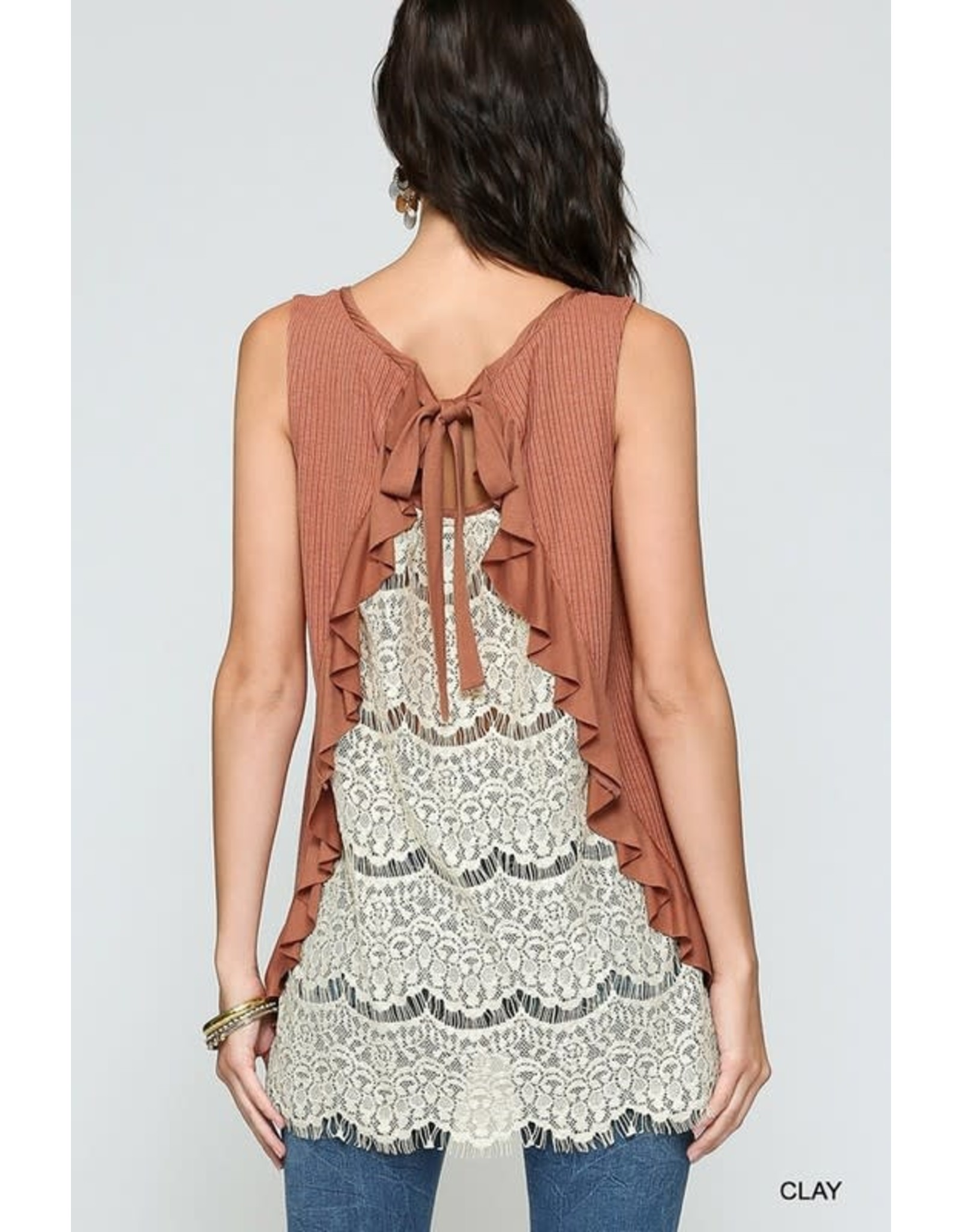 GIGIO CLAY RUFFLE DETAIL LACE BACK SLEEVELESS TOP