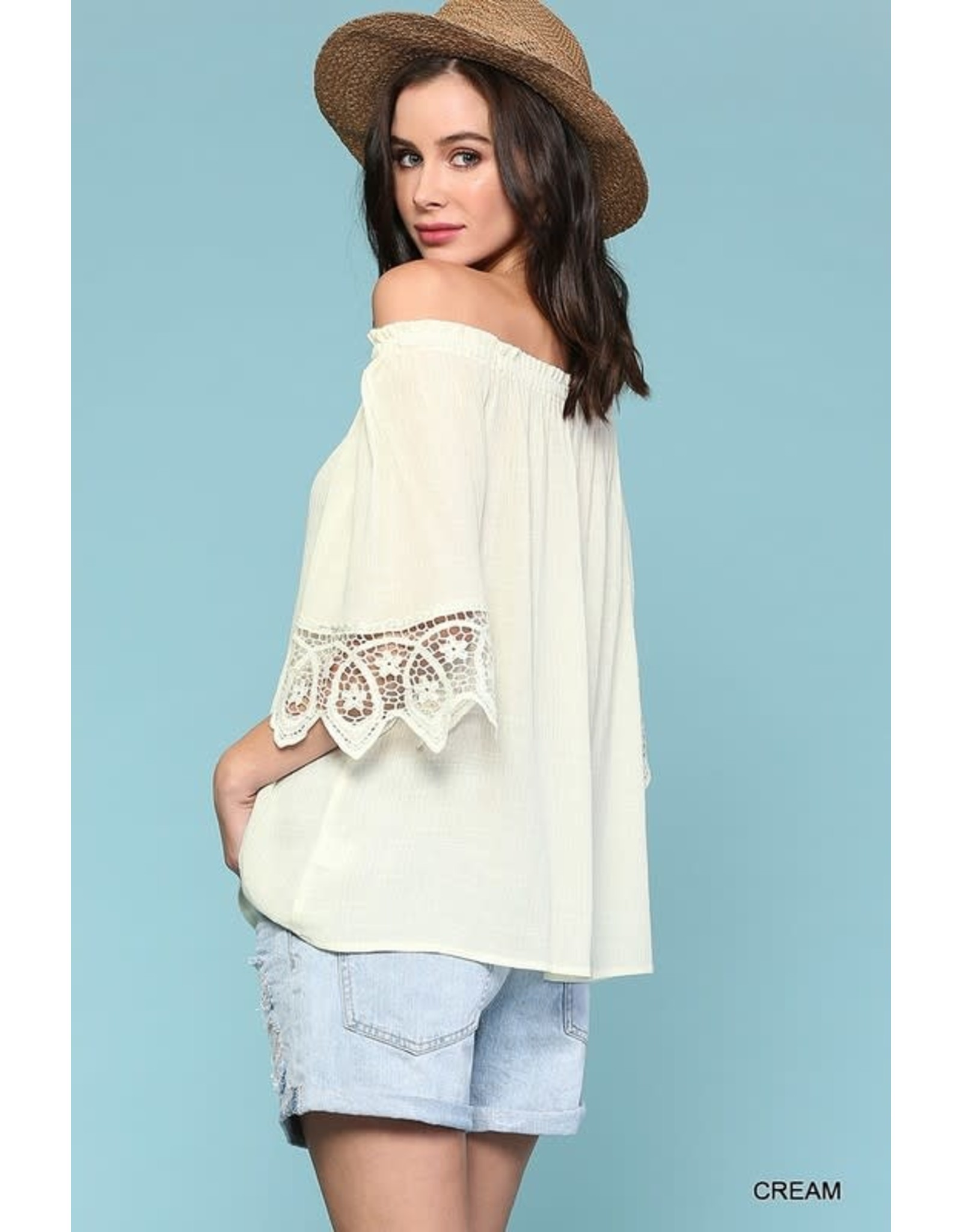 GIGIO CREAM OFF SHOULDER BELL SLEEVE BUTTON DOWN TOP WITH LACE TRIM