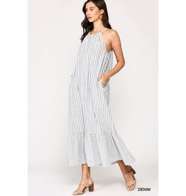 GIGIO DENIM STRIPE HALTER NECK MAXI DRESS WITH RUFFLE HEM