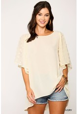 GIGIO IVORY CONTRAST FABRIC ROUND NECK SWING TOP W/ RUFFLE SLEEVES