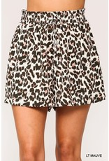 GIGIO MAUVE LEOPARD PRINTED SHORTS WITH WAIST DETAIL