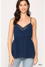 GIGIO NAVY LACE DETAIL HIGH WAIST CAMI