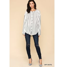 GIGIO OFF WHITE LACE MIX IKAT PRINT BUTTON DOWN TUNIC