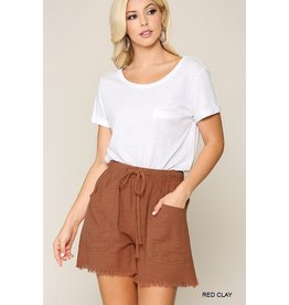 GIGIO RED CLAY FRAYED HEM SHORTS WITH DRAWSTRING WAIST