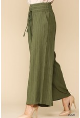 GIGIO OLIVE WIDE LEG PLEATED DETAIL WAIST BAND PANTS