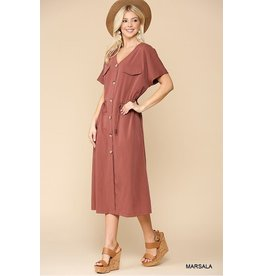 GIGIO MARSALA STRETCH WOVEN BUTTON DOWN MIDI DRESS
