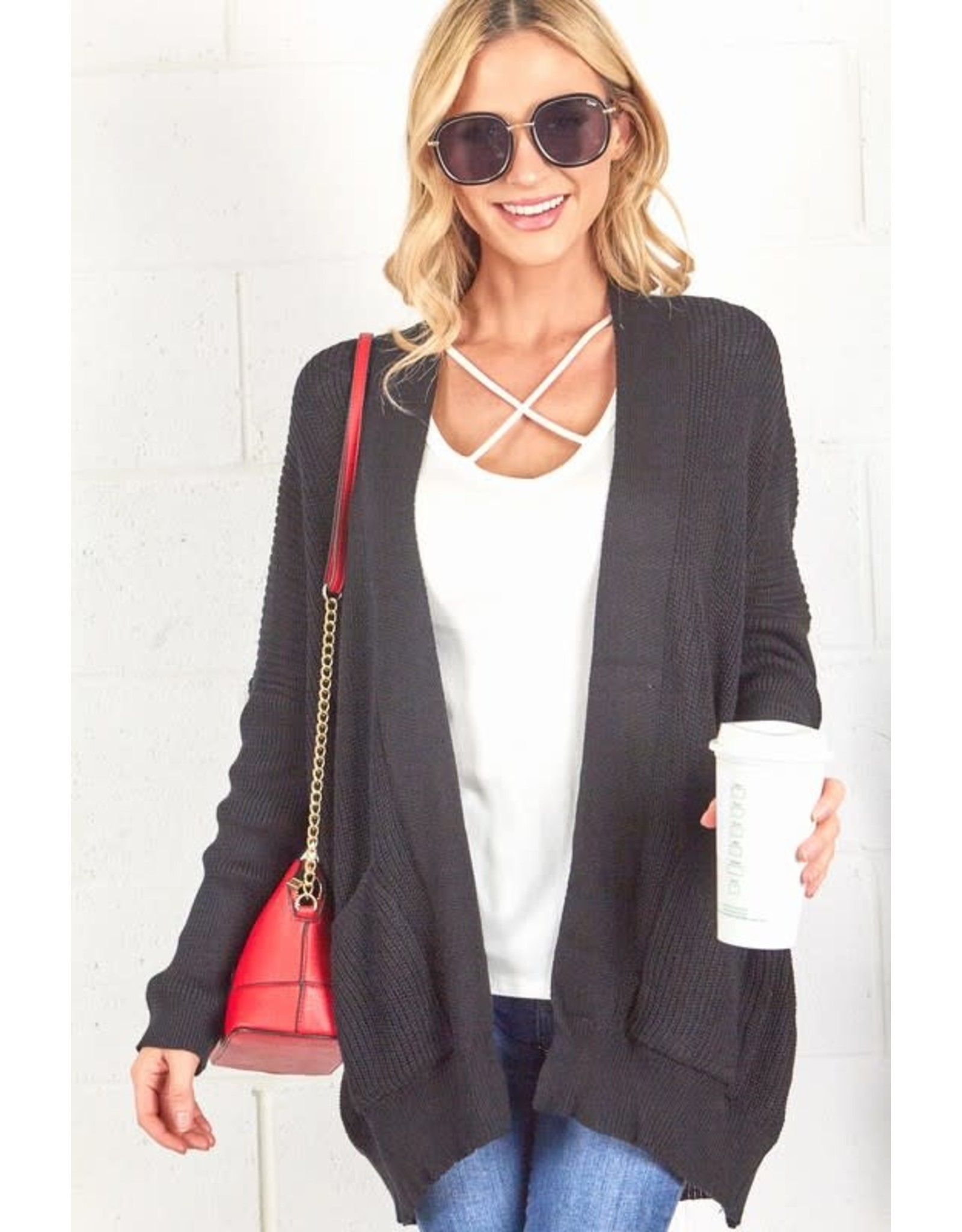 BLACK LONG SLEEVE OPEN FRONT CARDIGAN