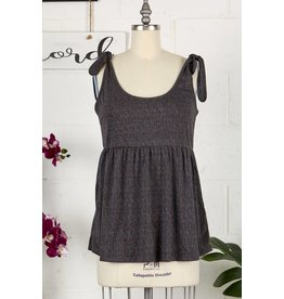 CHARCOAL SOLID FABRIC TIE STRAP BABYDOLL TANK
