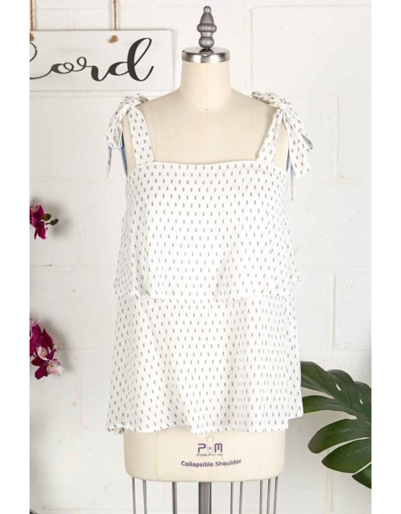 IVORY/BLACK TWO TIERED TIE SHOULDER TANK