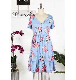 LT BLUE FLORAL TIERED BUTTON FRONT SS DRESS
