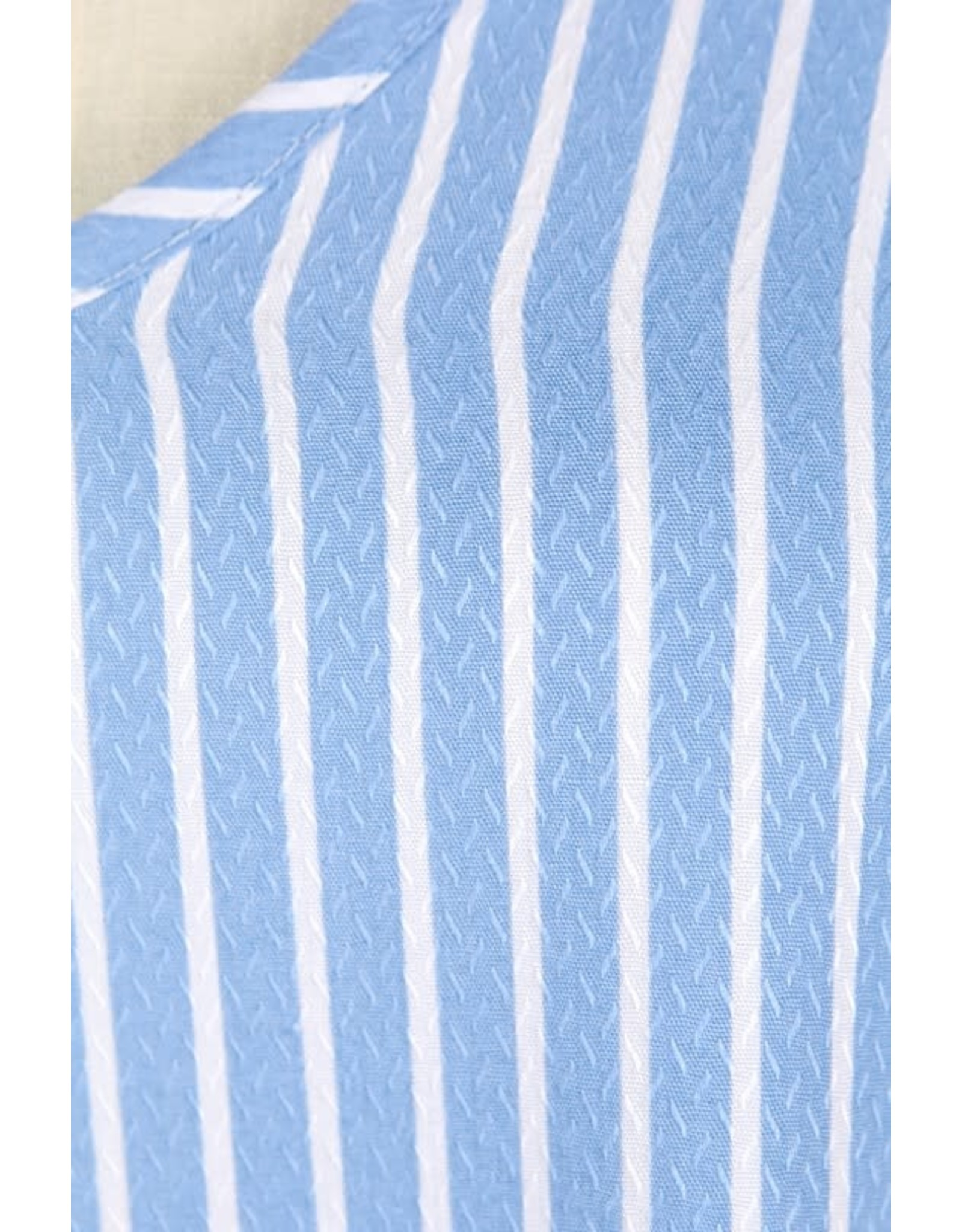 SKY BLUE TEXTURED WOVEN STRIPE DRESS WITH TIE SHOULDER