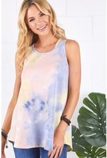 PINK LAVENDER YELLOW TIE DYE SLEEVELESS TOP