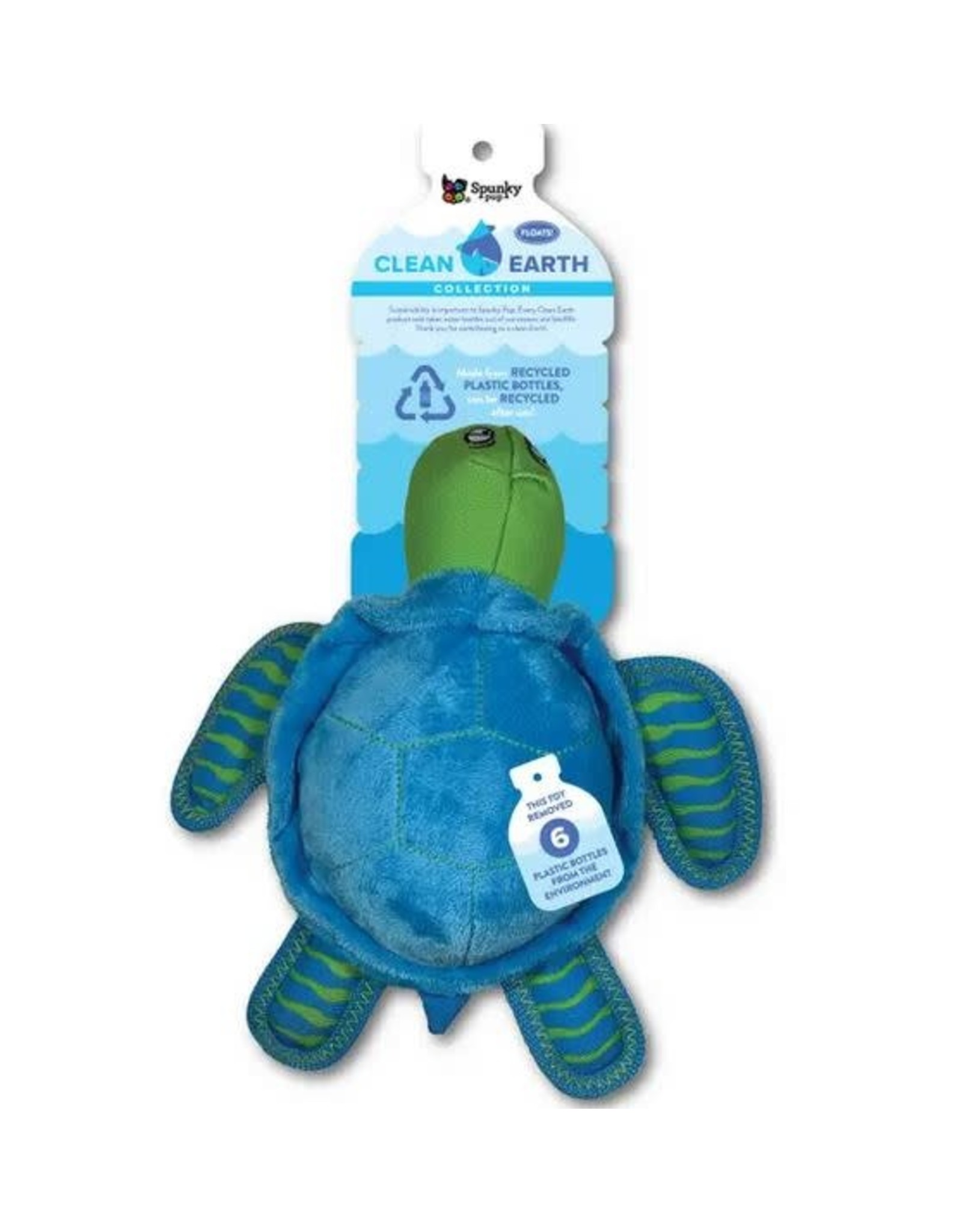 SPUNKY PUP DOG TOYS CLEAN EARTH PET TOY - PLUSH TURTLE LARGE