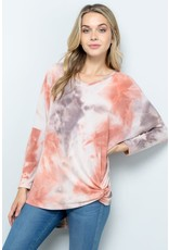 CORAL BROWN TIE DYE LONG SLEEVE DOLMAN W/ TWIST FRONT