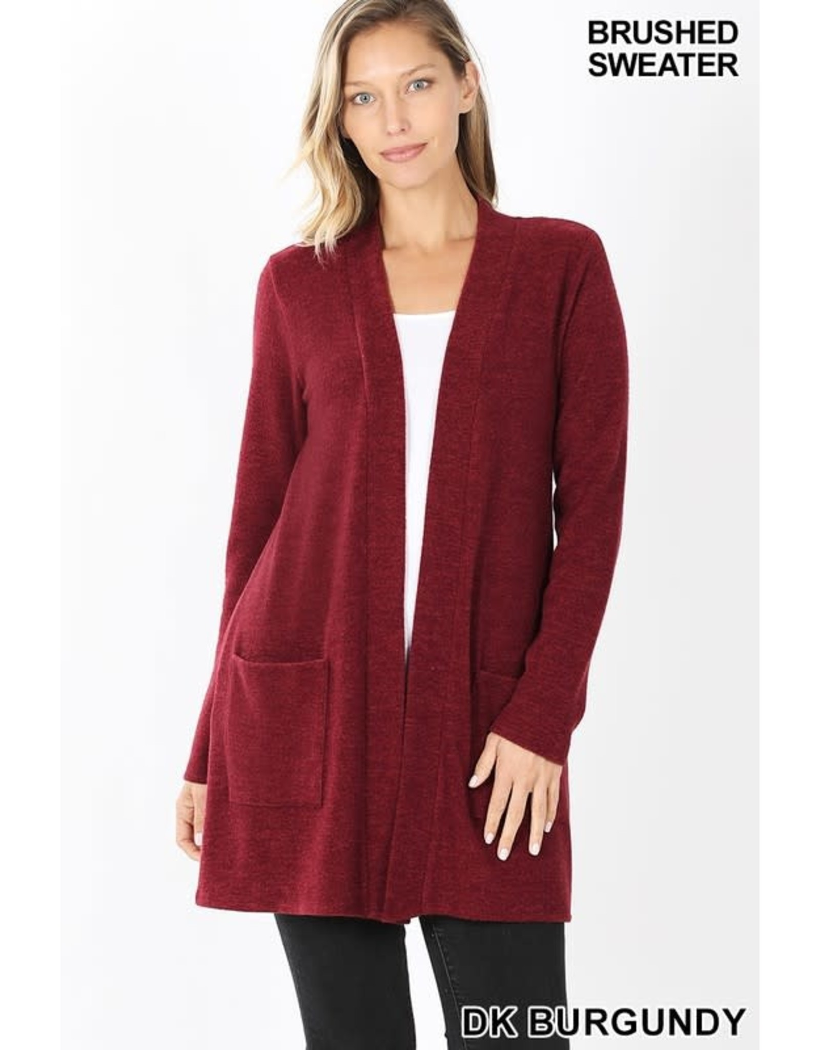 DK BURGUNDY OPEN FRONT BRUSHED FABRIC SWEATER W/ POCKETS