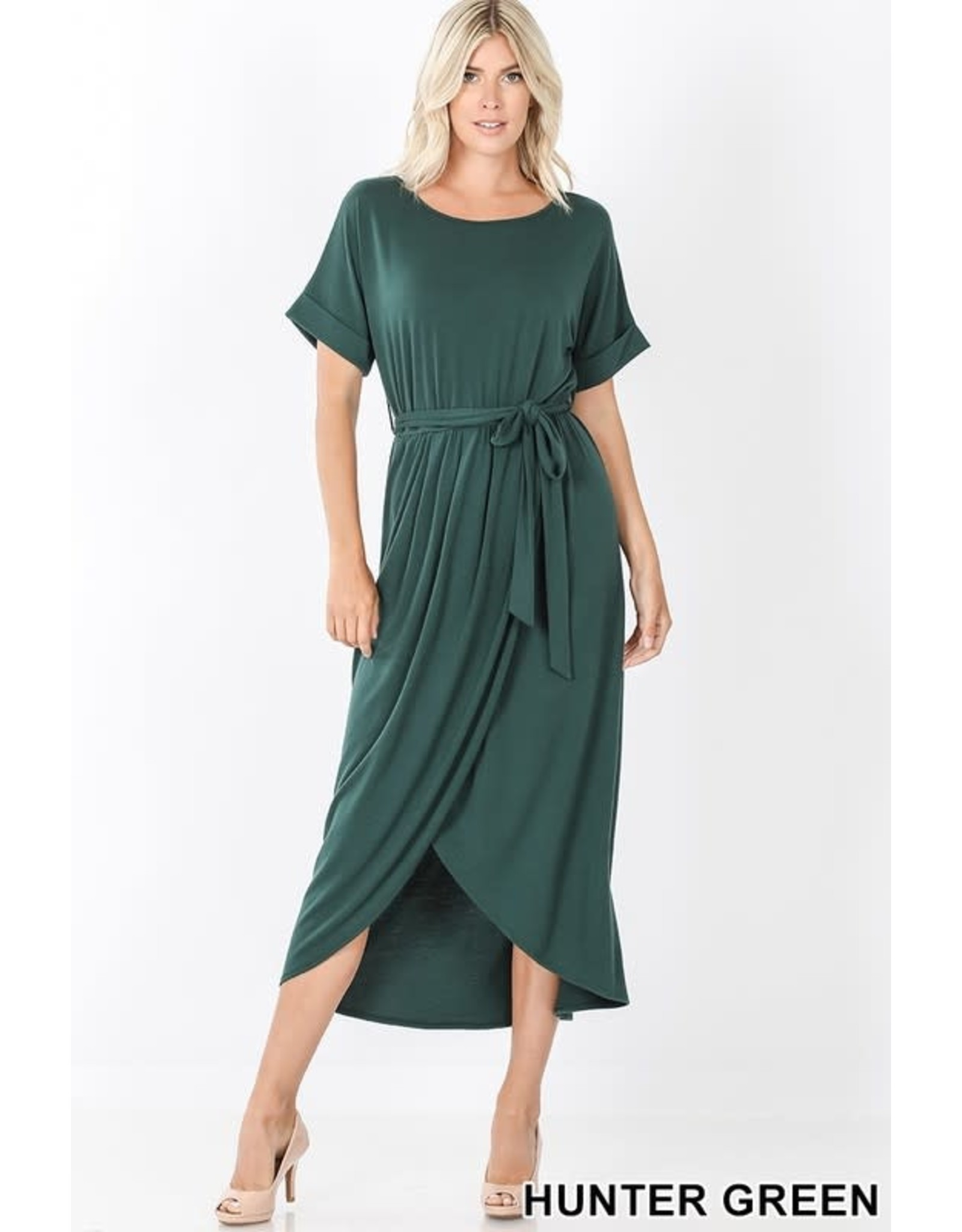 HUNTER GREEN BELTED SHORT SLEEVE TULIP DRESS