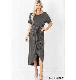 ASH GREY BELTED SHORT SLEEVE TULIP DRESS