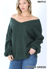 HUNTER GREEN BALLOON SLEEVE WIDE DOUBLE V-NECK WAFFLE SWEATER