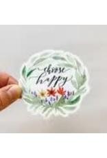 WILDFLOWER PAPER COMPANY CHOOSE HAPPY WREATH STICKER