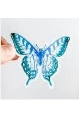 WILDFLOWER PAPER COMPANY WATERCOLOR BUTTERFLY BLUE TEAL STICKER