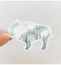 WILDFLOWER PAPER COMPANY BISON FOREST GREY WATERCOLOR STICKER