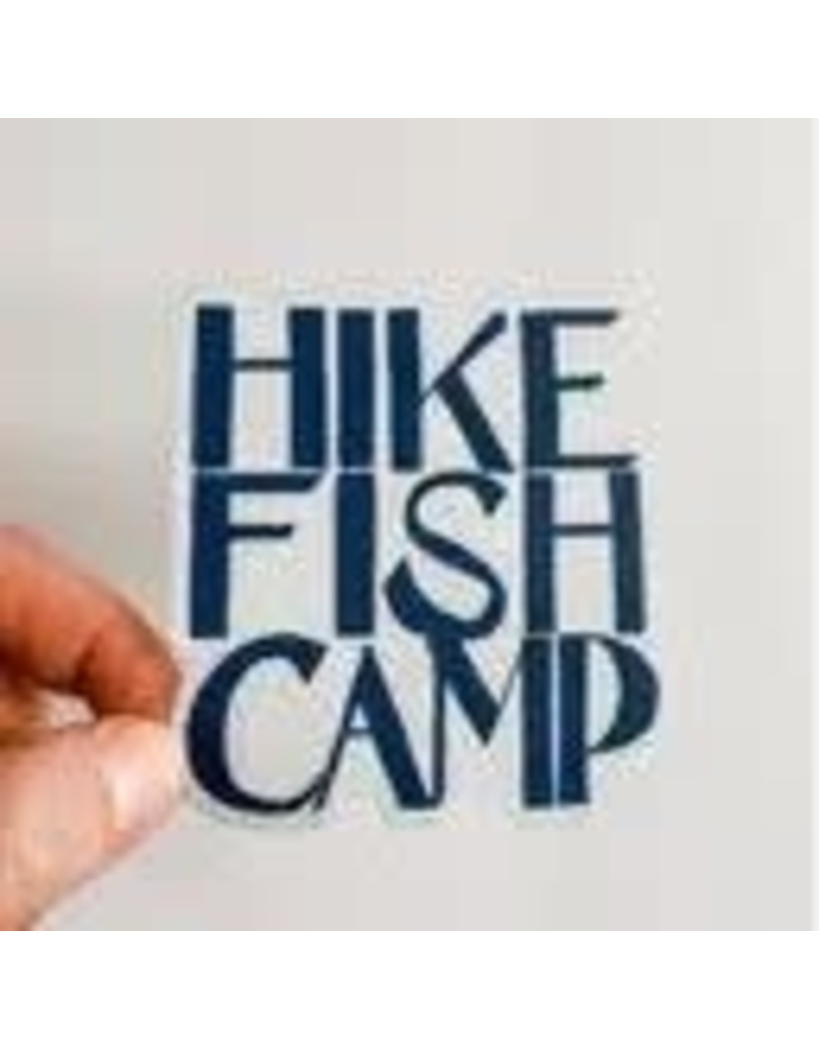 WILDFLOWER PAPER COMPANY HIKE FISH CAMP BLUE STICKER