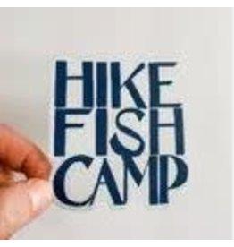 WILDFLOWER PAPER COMPANY HIKE FISH CAMP BLUE STICKER