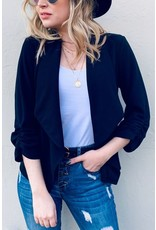 AND THE WHY BLACK BASIC OPEN FRONT BLAZER W/ 3/4 SLEEVES