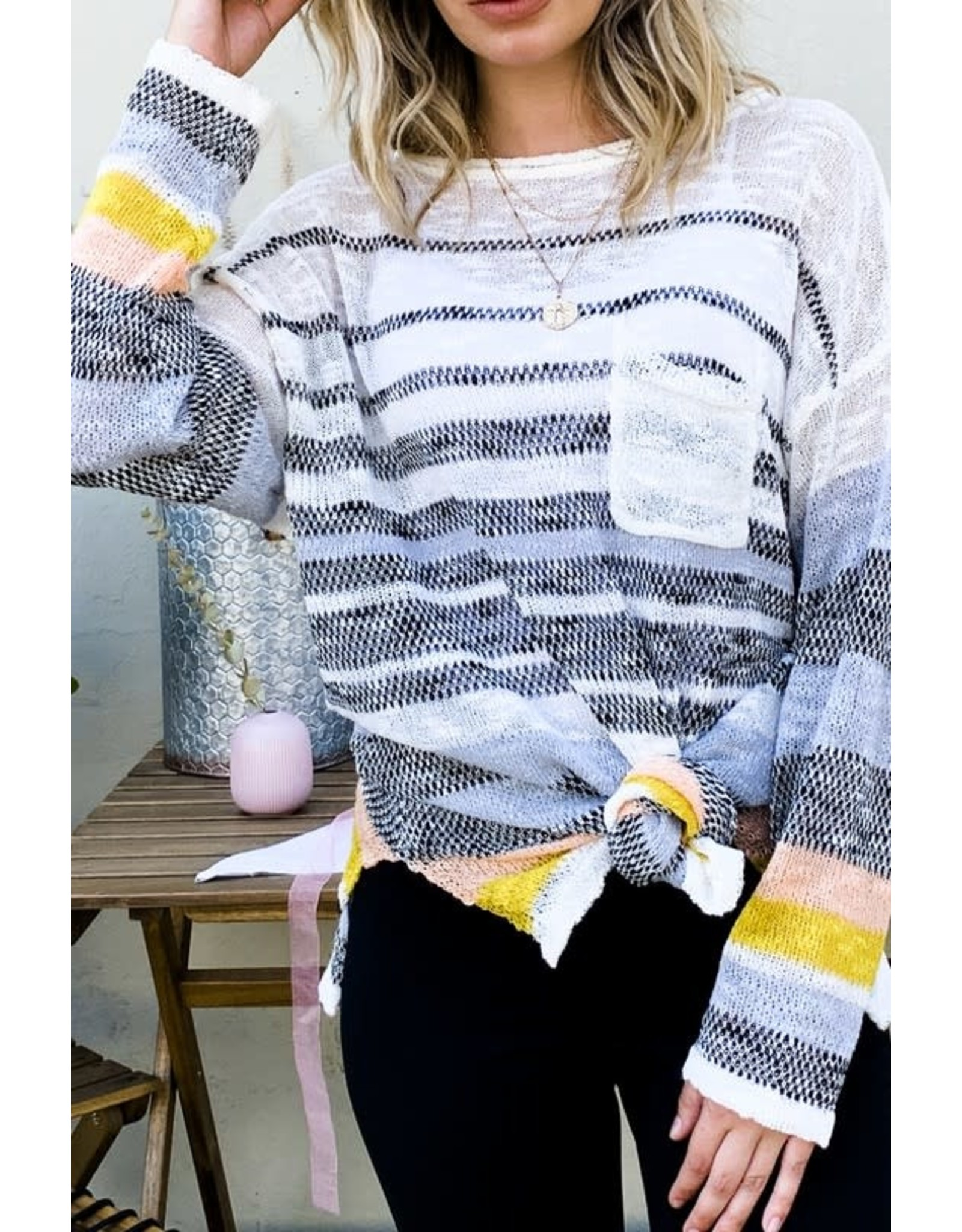 AND THE WHY BLUE MULTI STRIPED PULLOVER KNIT SWEATER