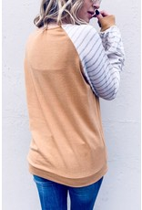 AND THE WHY CAMEL STRIPED SLEEVE KNIT 1/2 ZIP LONG SLEEVE
