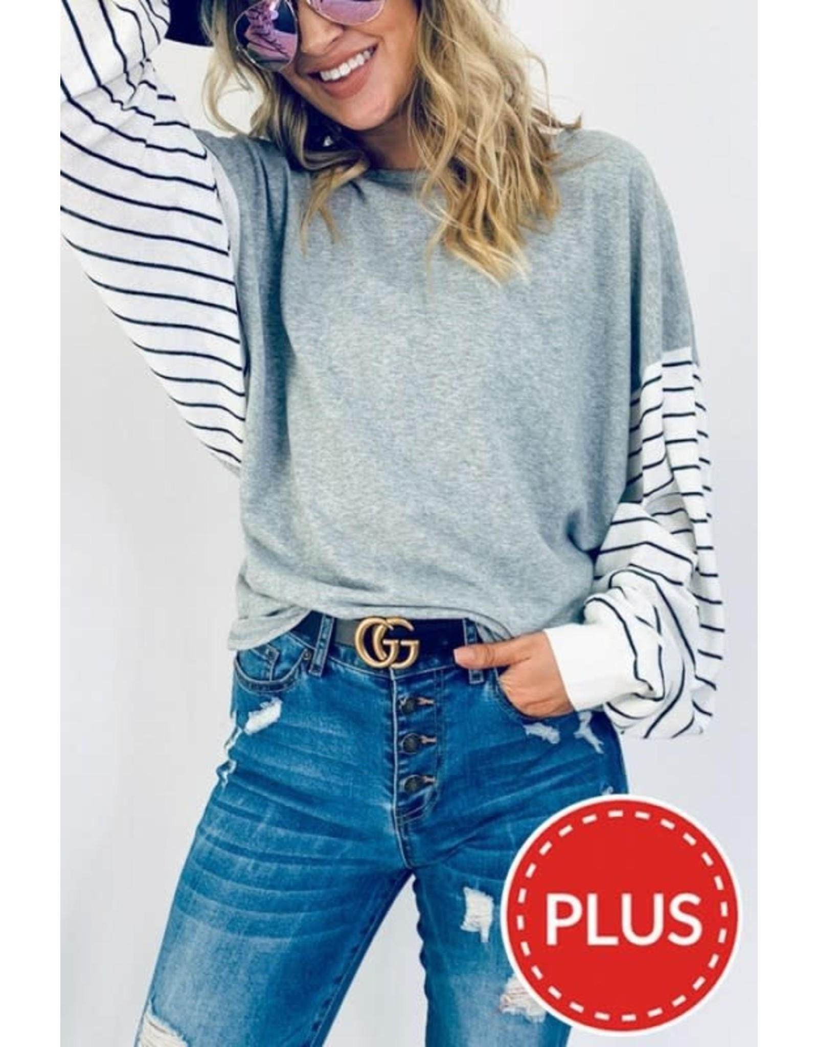 AND THE WHY GREY STRIPED BALLOON SLEEVE TOP