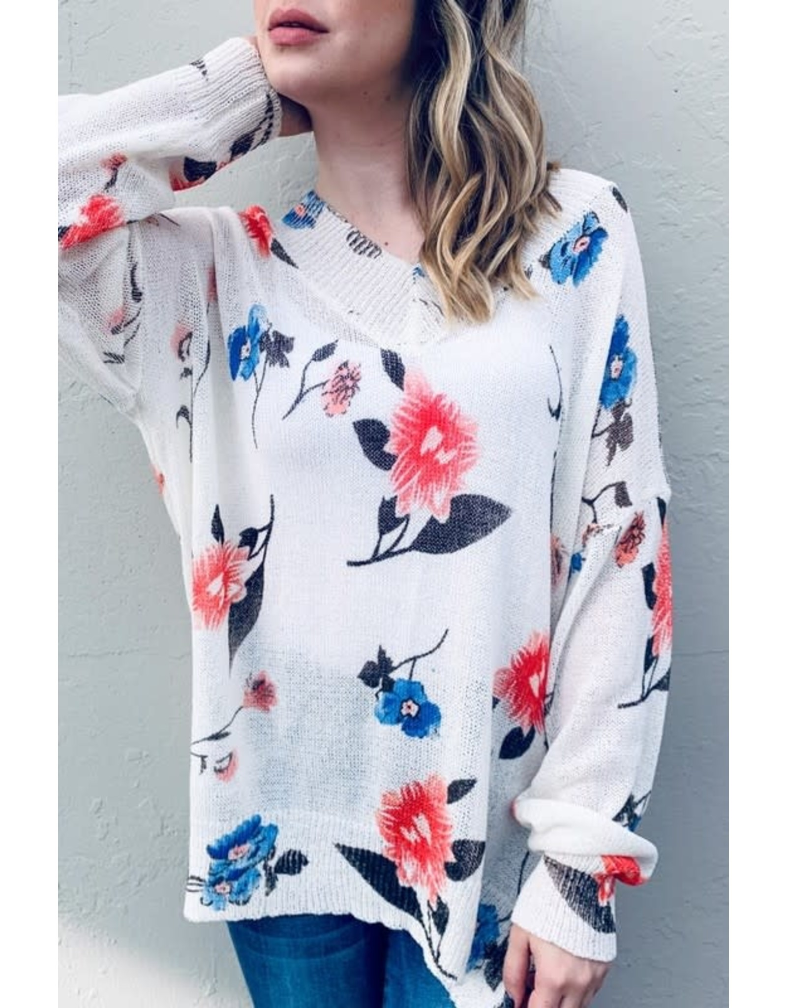 AND THE WHY IVORY FLORAL PRINTED LOOSE FIT PULLOVER SWEATER