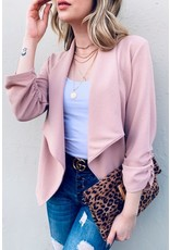 AND THE WHY LIGHT PINK BASIC OPEN FRONT BLAZER W/ 3/4 SLEEVES