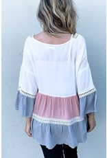 AND THE WHY MULTI COLOR BLOCK RUFFLE LACE DETAIL BELL SLEEVE TOP